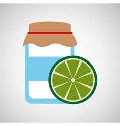 Jar cute blue with jam lemon graphic vector