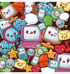 Kawaii cartoon icon set Technology and Social vector