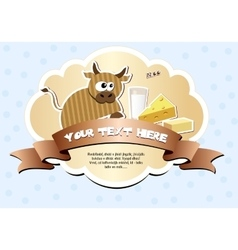 Label with ribbon and cow vector