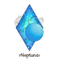 landscape of planet rhombus neptune vector image