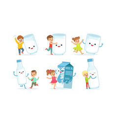 Little children having fun with big carton milk vector