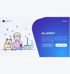 Man with allergy and thin line icons around cat vector