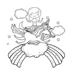 Mermaid with unicorn and rainbow in clouds vector