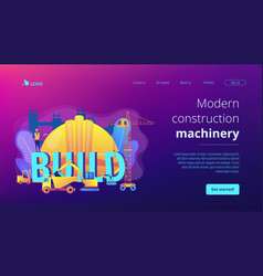 Modern construction machinery concept landing page vector