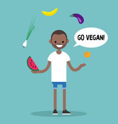 modern lifestyle go vegan young black man vector image