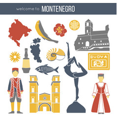 montenegro cultural symbols set isolated on white vector image