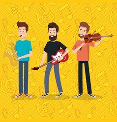 music festival live with men playing instruments vector image
