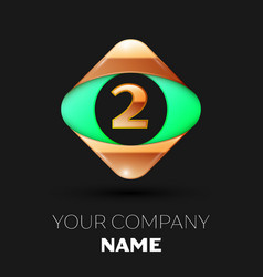 number letter two logo in the golden-green square vector image