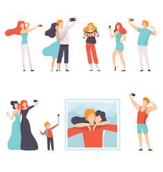 people taking selfie photo on smartphones set vector image