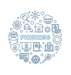 phishing round concept outline simple vector image