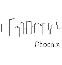 phoenix city one line drawing vector image