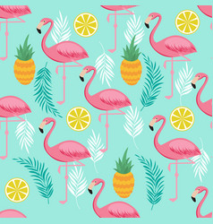 Pink flamingo pineapples and exotic leaves vector