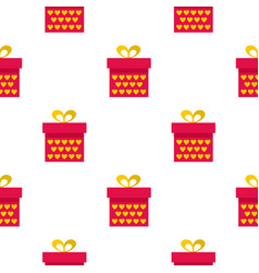 Pink gift box with yellow hearts pattern seamless vector