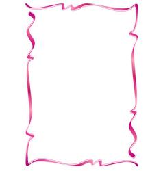 Pink ribbon silk frame decoration vector