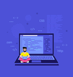 Programmer specialist sitting on big laptop vector