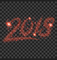 Red particles wave in form of 2018 digits vector