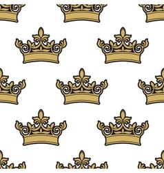 seamless pattern golden royal crowns vector image