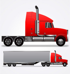 semi trailer red truck long nose vector image