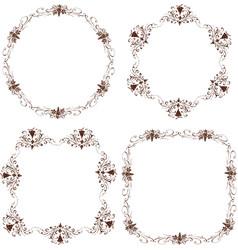 set decorative floral frames sketches vine vector image