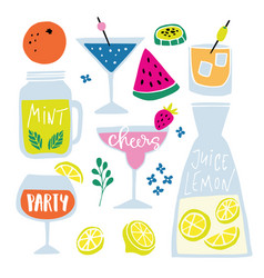 set hand drawn alcoholic and soft drinks vector image