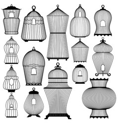 set of decorative black bird cage silhouettes vector image
