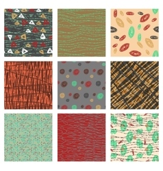 Set of hand drawn patternswith dotted lines vector image