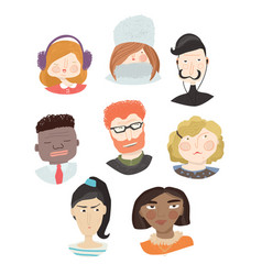 set of people avatars icon collection vector image