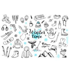 set of winter doodles vector image
