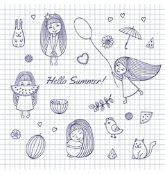 Sketch Hello summer vector image