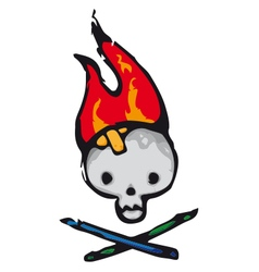 Skull flames vector