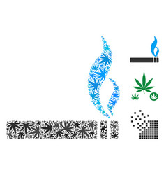 smoking cigarette collage of hemp leaves vector image