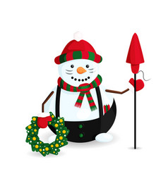 snowman with petard vector image