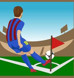 soccer player ready to kick a corner vector image