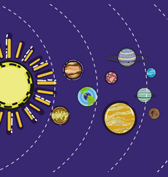 Solar system with planets in the galaxy space vector