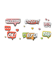 speech bubbles with short messages as comic vector image
