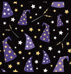starry wizard hats seamless pattern vector image