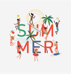 summer design element with happy people vector image