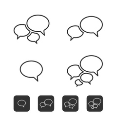Trendy Thin Icons With Speech Bubbles Set vector image