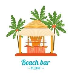 Tropical Beach Bar Banner Card vector