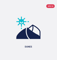 Two color dunes icon from desert concept isolated vector