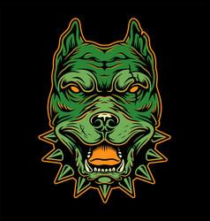 Vintage aggressive light colorful pitbull head vector
