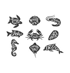Vintage set of hand drawn sea animals silhouette vector