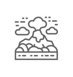 volcano mountains landscape line icon vector image