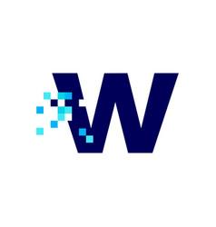 W letter pixel mark digital 8 bit logo icon vector