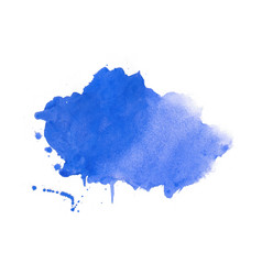 Watercolor stain texture in blue color design vector