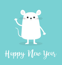 White mouse waving hand happy new year 2020 sign vector