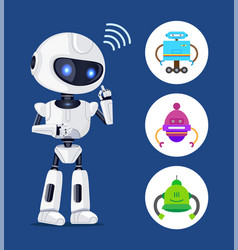 white robot sendind radio waves colorful banner vector image