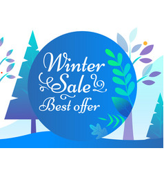 winter sale and best offer promotion card vector image