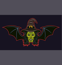Witch head with bat wings colorful vector