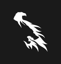 Wolf and eagle silhouette negative space icon vector